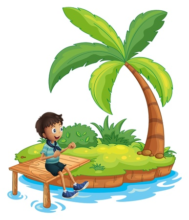 sides: Illustration of a boy with a scarf sitting above the wooden bridge in the island on a white background Illustration