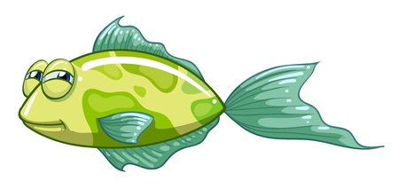prey: Illustration of a green fish on a white background