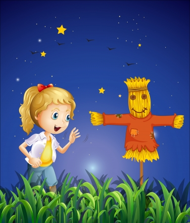 ricefield: Illustration of a young girl beside the scarecrow Illustration