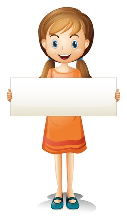 quadrilateral: Illustration of a girl with an orange dress holding an empty banner on a white background