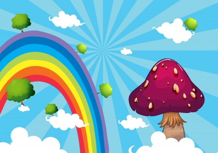 Illustration of the rainbow and the giant mushroom Vector