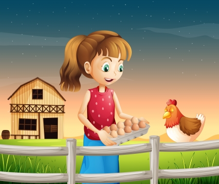 eggtray: Illustration of a woman holding an eggtray with eggs near the fence