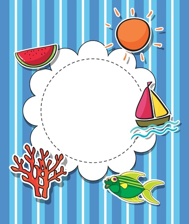 watermelon boat: Illustration of a round template with a sun Illustration