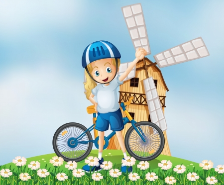 hilltop: Illustration of a female biker standing at the hilltop with a windmill