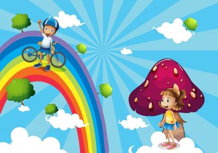 fuschia: Illustration of a boy biking in the rainbows Illustration