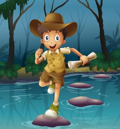 adventurer: Illustration of an adventurer running with a map Illustration