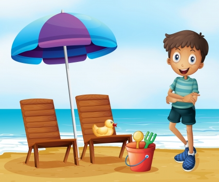 sun protection: Illustration of a young boy at the beach near the wooden chairs Illustration