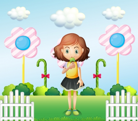 sugarcane: Illustration of a girl eating an icecream near the fence with giant candies