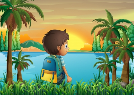 Illustration of a boy with a bag watching the sunset Vector