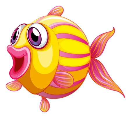 pouty: Illustration of a colorful pouty fish on a white background Illustration