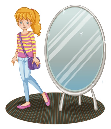 Illustration of a girl beside a mirror on a white background Stock Vector - 21234617