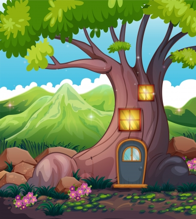 Illustration of a tree house in the middle of the forest Vector