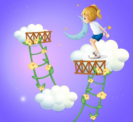 improvised: Illustration of a young lady in the clouds