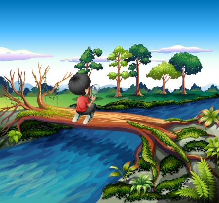 lake  pond  trees: Illustration of a boy above the trunk of a tree holding a magnifying glass Illustration