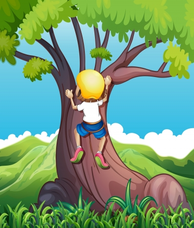 blue helmet: Illustration of a young girl climbing