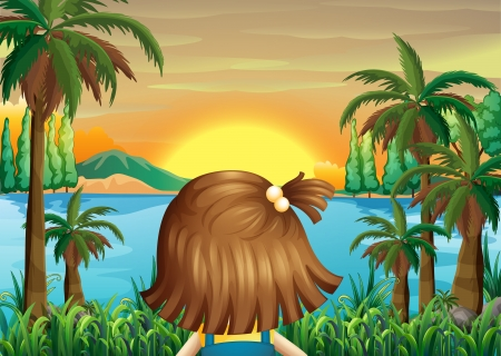 Illustration of a little girl watching the sunset at the riverbank Vector