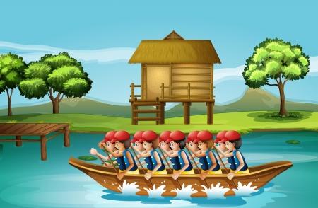 hobby hut: Illustration of a group of men boating