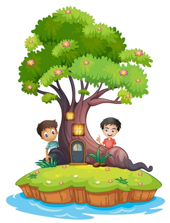 enchanted: Illustration of the two boys at the back of the enchanted treehouse on a white background