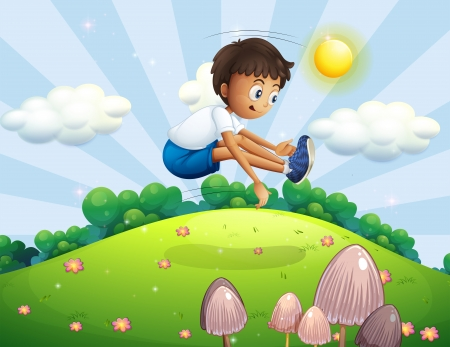 Illustration of a boy jumping in the air Vector