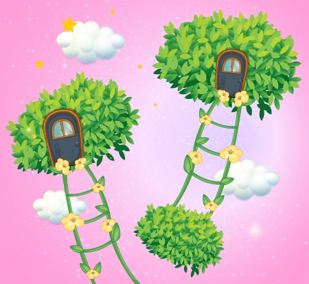 bush mesh: Illustration of the green ladders going to the sky