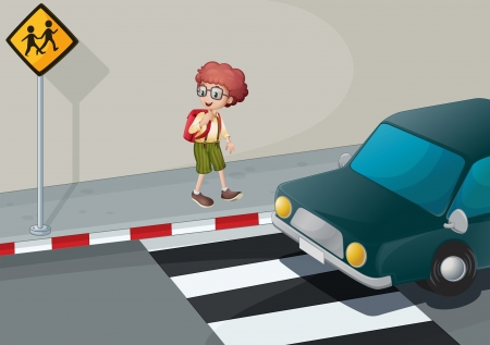 Illustration of a young boy with a backpack standing near the pedestrian Vector