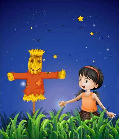 Illustration of a girl mimicking the scarecrow Vector