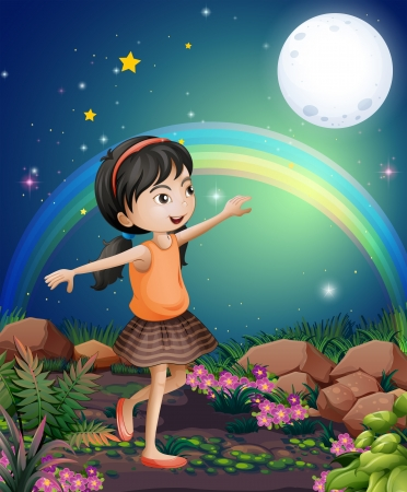 Illustration of a happy young girl playing near the flowers Vector