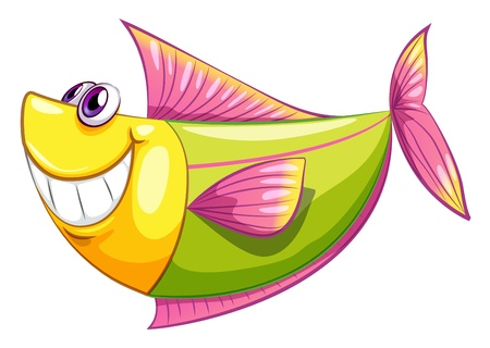 bulding: Illustration of a smiling colorful aquatic fish on a white background