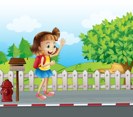 Illustration of a cute little girl at the street beside the mailbox