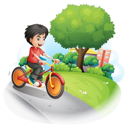 Illustration of a boy with a red shirt biking on a white background Stock Vector - 21234874