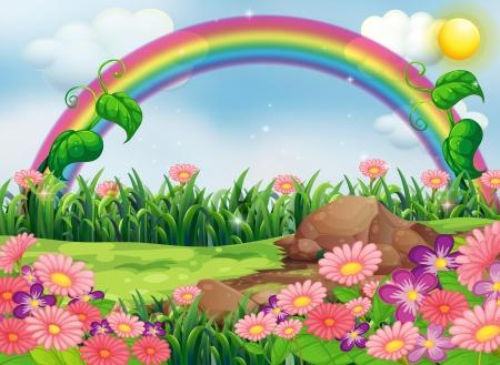 Illustratie van een betoverende tuin met een regenboog