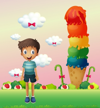 sugarcane: Illustration of a boy standing near the big ice cream Illustration