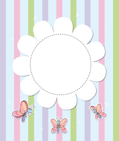 Illustration of a stationery with three butterflies Vector