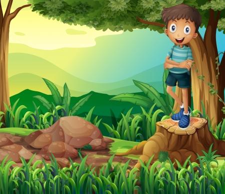 sliced tree: Illustration of a smiling boy above a stump of a tree Illustration