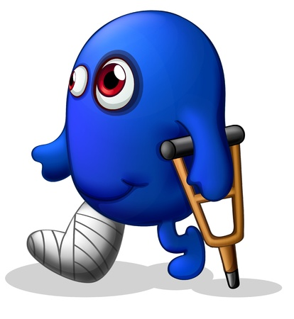 crutch: Illustration of an injured blue monster on a white background