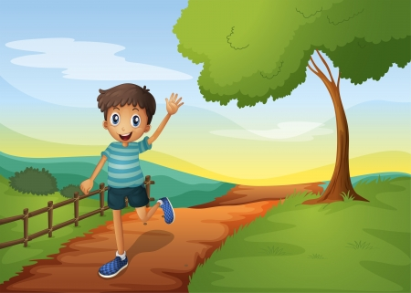 Illustration of a young boy waving his hand while running Vector