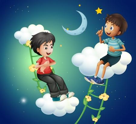 improvised: Illustration of the two boys talking near the moon Illustration