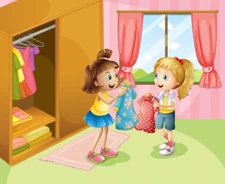 Illustration of the two girls showing their clothes inside the house Vector
