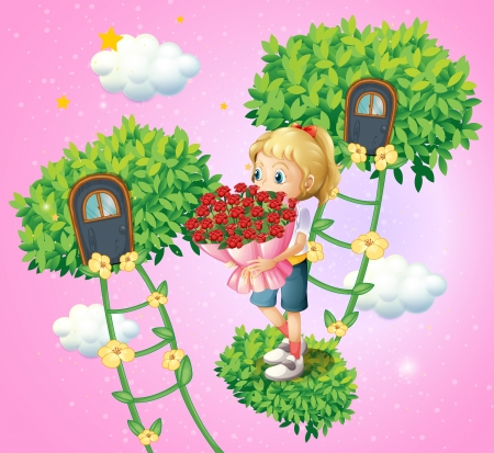bush mesh: Illustration of a girl holding a bouquet of flowers