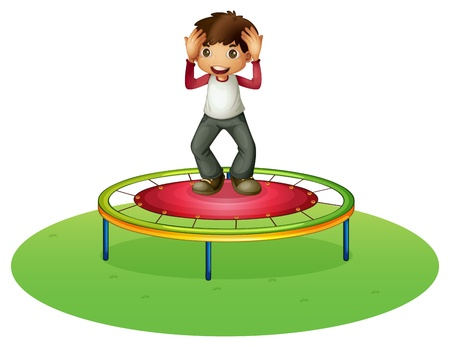 elastic: Illustration of a boy on a trampoline on a white background