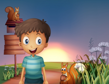 Illustration of a young boy and two squirrels near the empty signage and the mailbox Vector