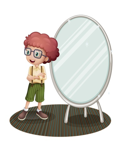 Illustration of a young boy near the mirror on a white background Stock Vector - 21235130