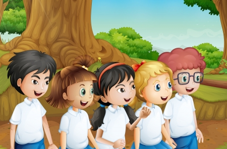multiple image: Illustration of a group of students at the forest
