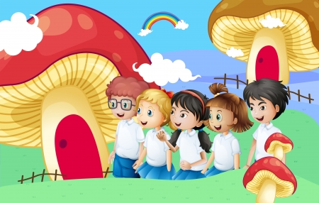 young boy smiling: Illustration of the five students near the giant mushroom houses