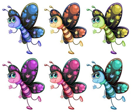 yellowish: Illustration of the six colorful butterflies on a white background