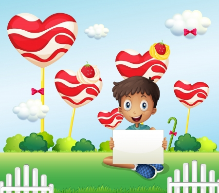 Illustration of a smiling boy holding an empty signage at the candyland Vector