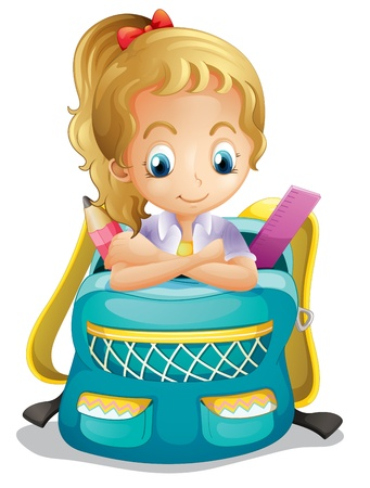 Illustration of a school girl inside a schoolbag on a white background Vector