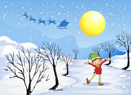 neige qui tombe: Illustration d'un elfe dans un endroit enneigé