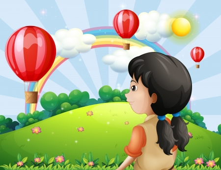 Illustration of a girl looking at the hot air balloon Vector