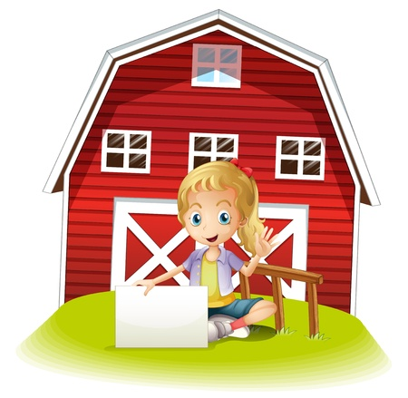 barnhouse: Illustration of a girl sitting in front of the barnhouse holding an empty signboard on a white background